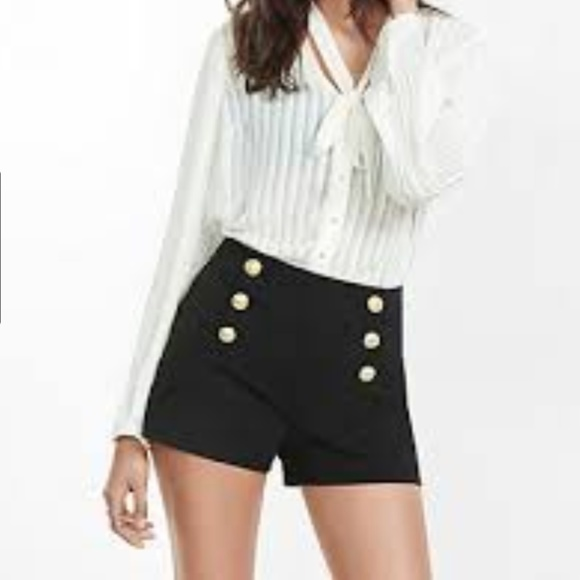 high waisted black button shorts